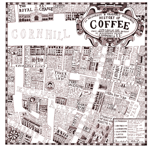The history of coffee and a map of Exchange Alley in 1652.