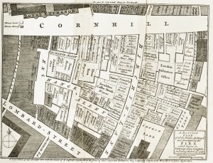A map of Cornhill showing the devestation of a fire in 1748.