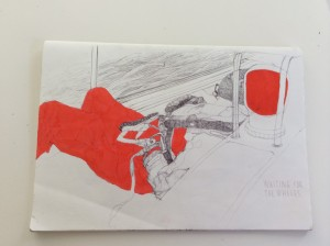Sketch of crew member on a residency sailing across the N Atlantic (the wave motion didn't make it easy...)