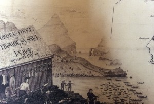 The Grindadrap, an antique etching of the Fareoese whale hunt.