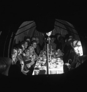 Tea party inside the Malm Whale.