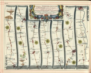 An antique strip map.