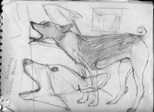 Sketchbook page planning for 'Imposter'