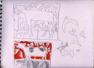 Sketchbook page planning colour and composition for 'Imposter'