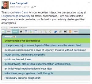 Textwall responses to sketchbook talk Loughborough University.