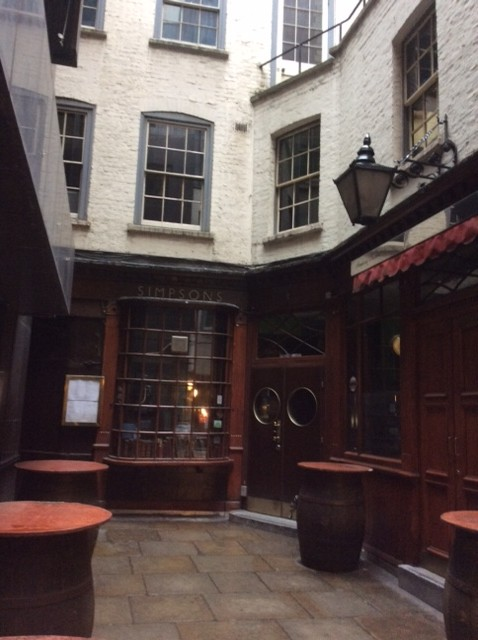Simpsons, the oldest chop house in London, situated opposite Jamaica Inn.